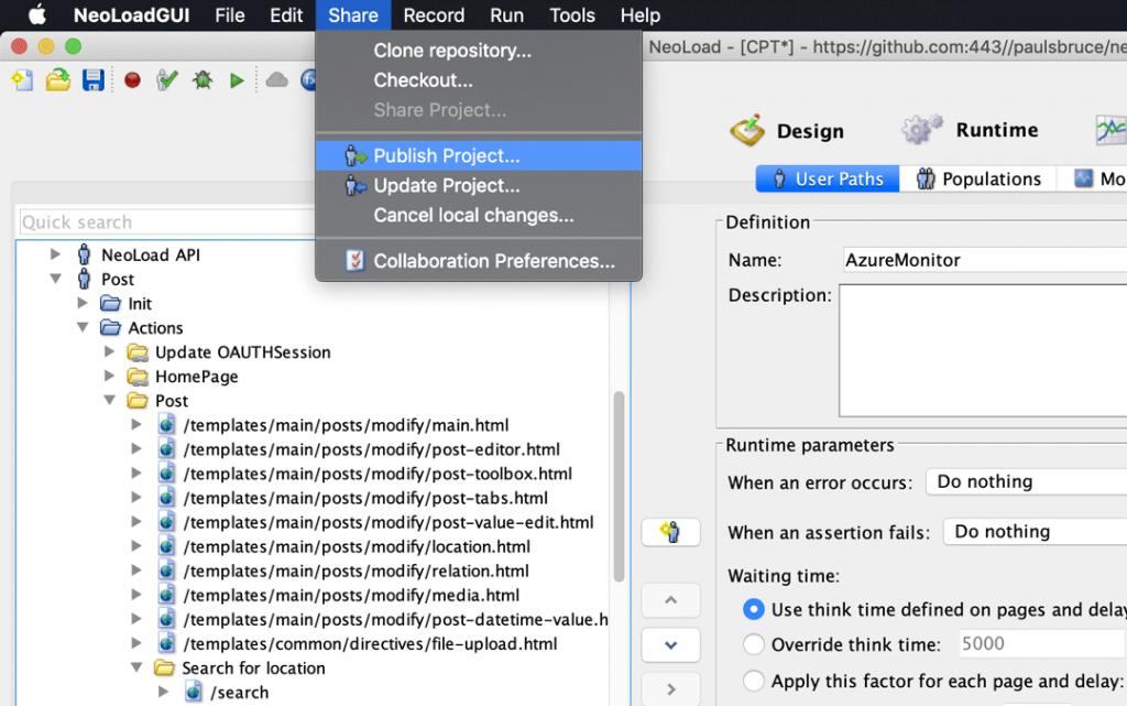 a screenshot of NeoLoadGUI